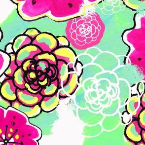 Mod Flowers in Fuchsia