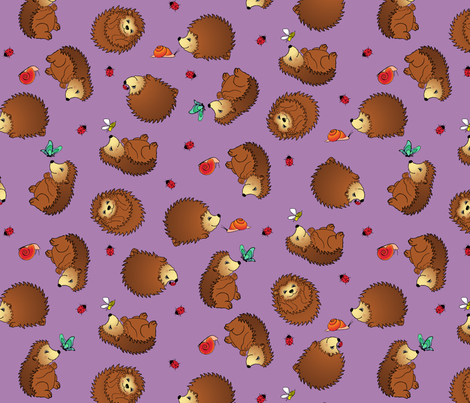 Hedgehogs and Friends fabric by jmckinniss on Spoonflower - custom fabric