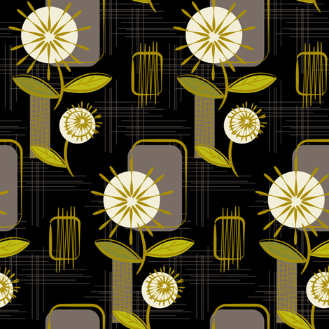 Mid Century Modern Dandelions ~ (Charcoal) fabric by retrorudolphs on Spoonflower - custom fabric