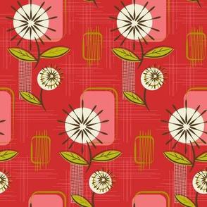 Mid Century Modern Dandelions ~ (Pomegranate)