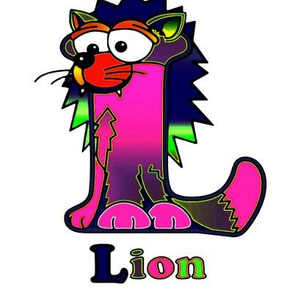 dover_alphabetimals_coloring_page_lion_alien_colors__O_neon_pink_G_on_W_8x8