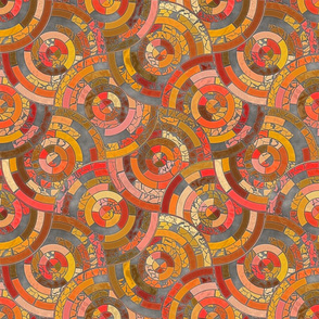 Retro Radical Mosaic Tiling Circle Seamless Pattern