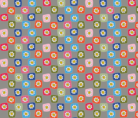 Granny Square Checkers on Grey fabric by heathermann on Spoonflower - custom fabric