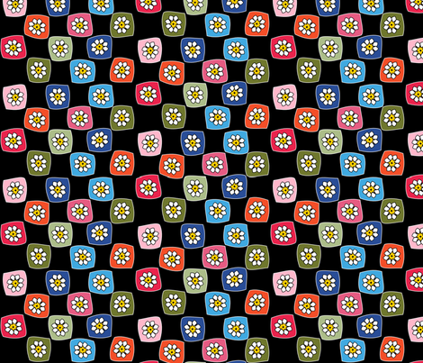 Granny Square Checkers on Black fabric by heathermann on Spoonflower - custom fabric