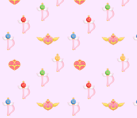 Sailor Moon Transformation Items fabric by lovelylatte on Spoonflower - custom fabric