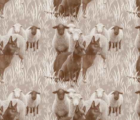 Kelpie dogs with sheep two fabric by dogdaze_ on Spoonflower - custom fabric