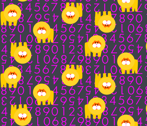 Violet Lion Numbers fabric by heathermann on Spoonflower - custom fabric