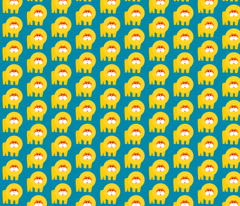Teal Lion Repeat fabric by heathermann on Spoonflower - custom fabric