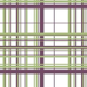Green & Purple Plaid w/ White Background