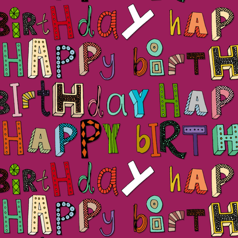 happy birthday pink fabric by scrummy on Spoonflower - custom fabric