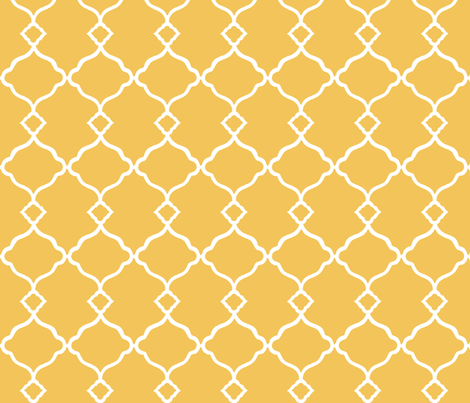 Ogee Trellis Yellow fabric by lulabelle on Spoonflower - custom fabric