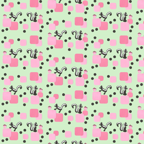 RETRO 50'S SKUNK & CUPCAKE small print  fabric by scoutmom131 on Spoonflower - custom fabric