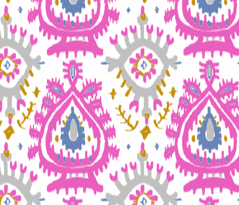 Emerald Ikat in soft plum fabric by domesticate on Spoonflower - custom fabric