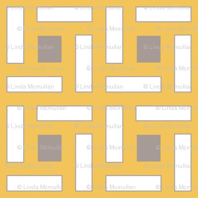 Square Trellis Gray Saffron