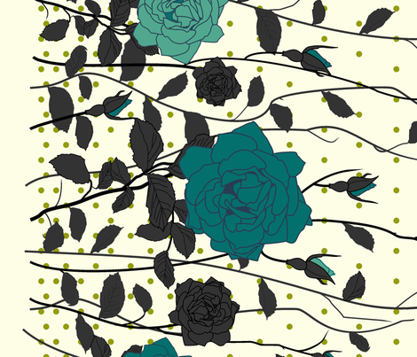 The Blue Roses fabric by candyjoyce on Spoonflower - custom fabric