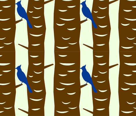 Bluejays in trees fabric by meaganrogers on Spoonflower - custom fabric