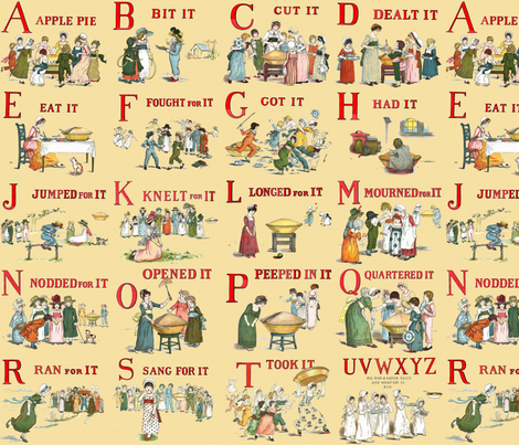 "Kate Greenaway's ""A Is For Apple"" fabric by peacoquettedesigns on Spoonflower - custom fabric"