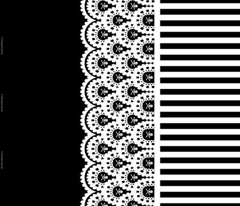 White Skull and Crossbones Lace Border on Black with 1/2 inch stripe fabric by littlemisscrow on Spoonflower - custom fabric