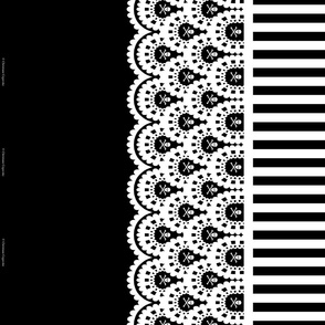 White Skull and Crossbones Lace Border on Black with 1/2 inch stripe