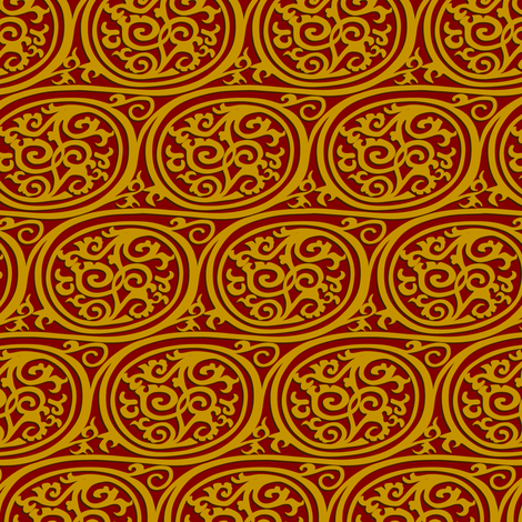 Curlyswirl (red and gold) fabric by bippidiiboppidii on Spoonflower - custom fabric