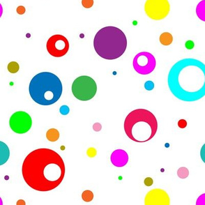 Rainbow Dots on White