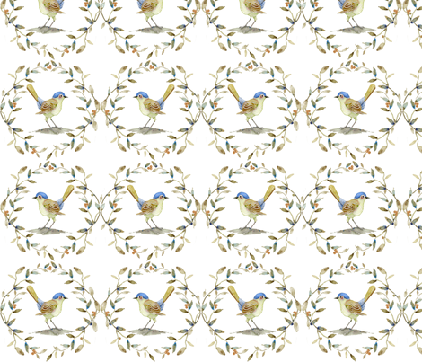 Watercolor Bird in Blues and Olive fabric by joanna_olson on Spoonflower - custom fabric