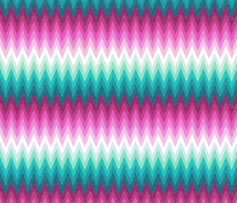 Ombre zig zags pink + aqua fabric by veritymaddox on Spoonflower - custom fabric