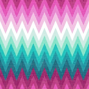 Ombre zig zags pink + aqua