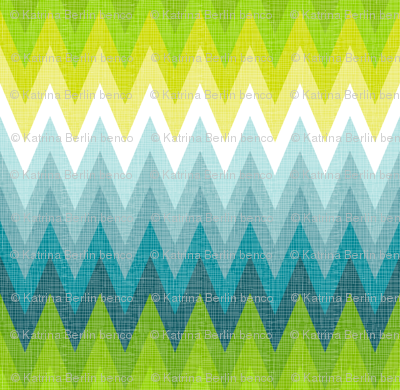Ombre zig zag aqua + chartreuse