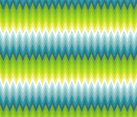 Ombre zig zag aqua + chartreuse fabric by veritymaddox on Spoonflower - custom fabric