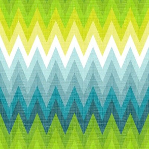 Ombre zig zag aqua + chartreuse