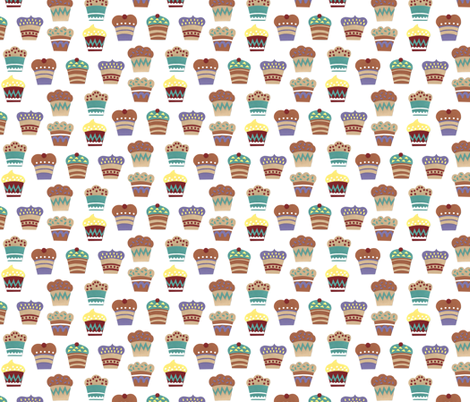 paper cupcakes fabric by lilichi on Spoonflower - custom fabric