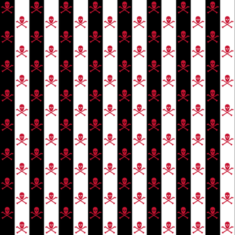 Red Skull and Crossbones on Black and White 1/2 inch Stripe fabric by littlemisscrow on Spoonflower - custom fabric