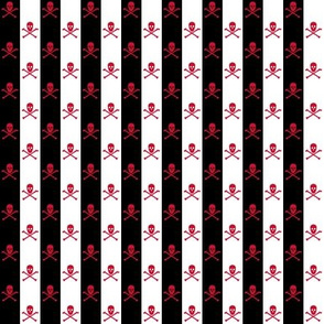 Red Skull and Crossbones on Black and White 1/2 inch Stripe