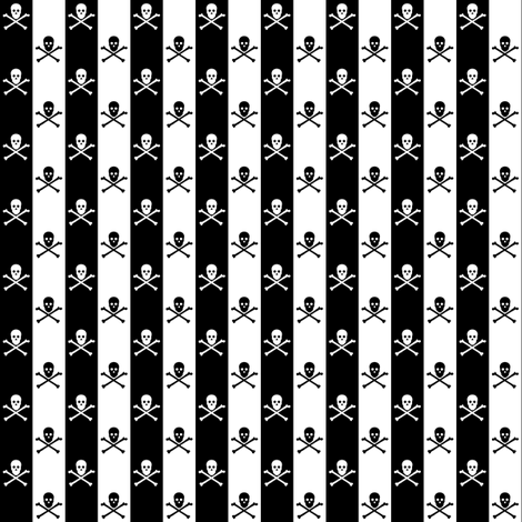 White and Black Skull and Crossbones on Black and White 1/2 inch Stripe fabric by littlemisscrow on Spoonflower - custom fabric