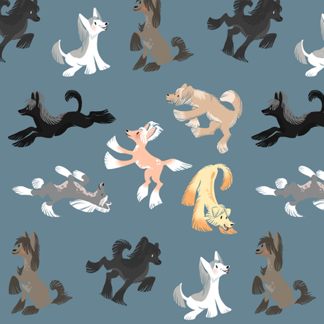 Chinese Crested Fabric - Blue fabric by dappledgray on Spoonflower - custom fabric
