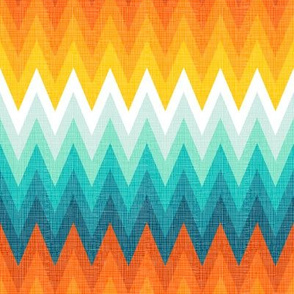 Ombre zig zag orange + aqua