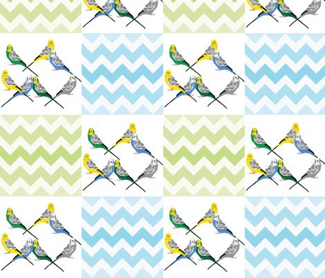 chevron-parakeets-multi fabric by owlandchickadee on Spoonflower - custom fabric