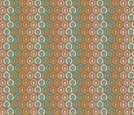 Honeycomb IKAT - Cocoa fabric by pattysloniger on Spoonflower - custom fabric