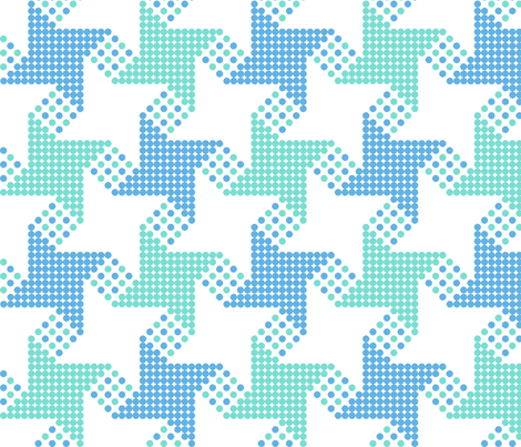 houndstooth - green blue fabric by gingerme on Spoonflower - custom fabric