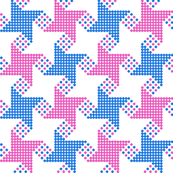 houndstooth - blue pink