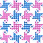 houndstooth - blue pink