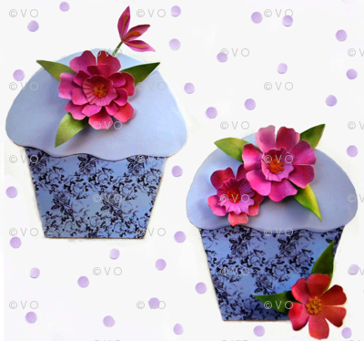 Cut flowers and cupcakes