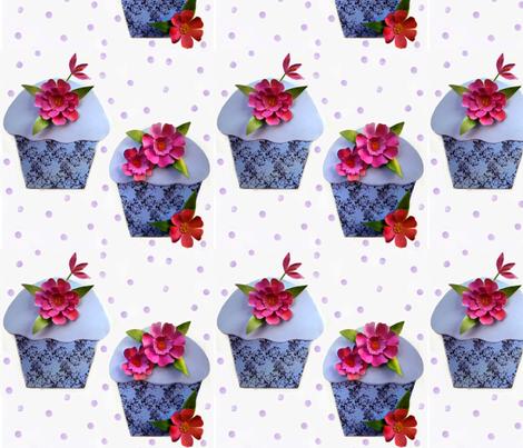 Cut flowers and cupcakes fabric by vo_aka_virginiao on Spoonflower - custom fabric