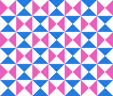yankee puzzle - blue pink fabric by gingerme on Spoonflower - custom fabric