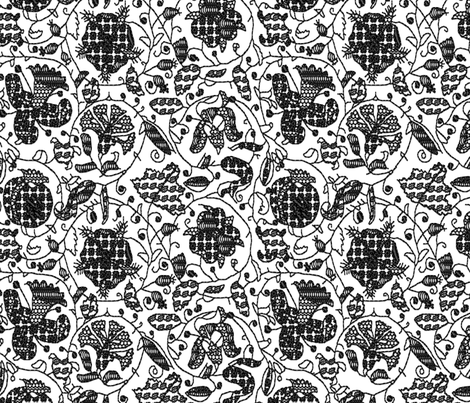 Embroidered Elizabethan Blackwork fabric by bonnie_phantasm on Spoonflower - custom fabric