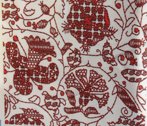 Embroidered Elizabethan Redwork