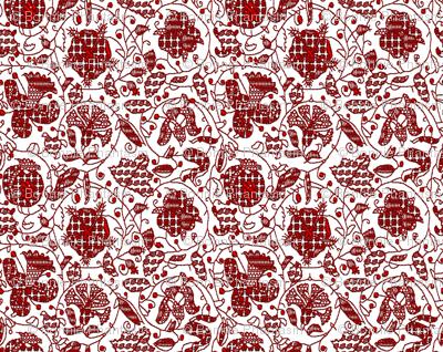Embroidered Elizabethan Redwork