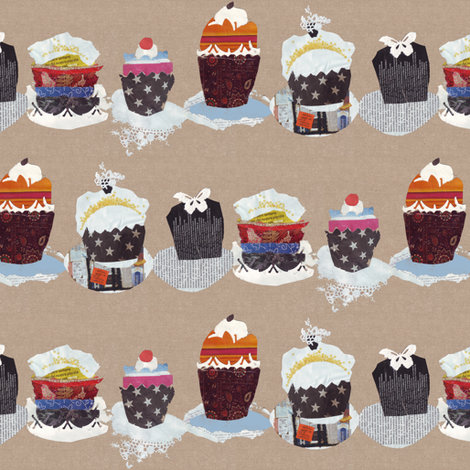 collage cupcakes fabric by katarina on Spoonflower - custom fabric