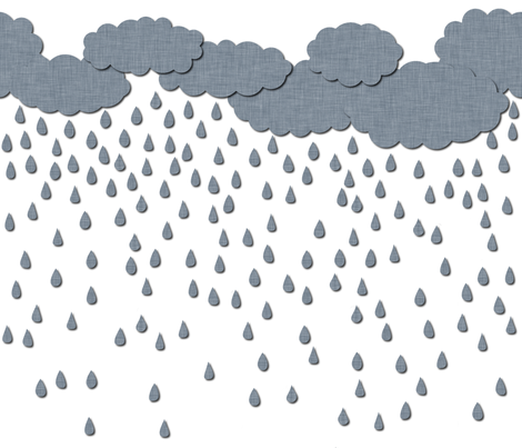 Rainclouds in gray linen fabric by spacefem on Spoonflower - custom fabric